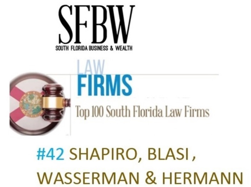 Shapiro, Blasi, Wasserman & Hermann ranks in the Top 100 Law Firms